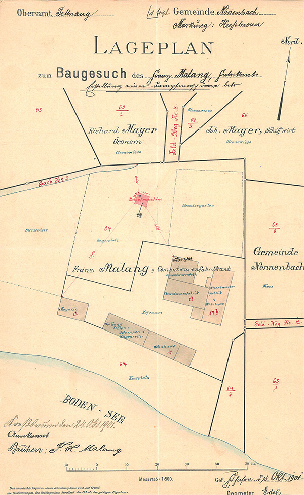 Lageplan zum Baugesuch der Zementwarenfabrik Malang vom 15. Oktober 1901. In dem langgestreckten Gebäude am Seeufer war später das Büro der Bodan-Werft untergebracht.<br>Bauamt Kressbronn a. B., Akte Bodan-Werft 4;