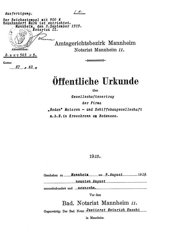 Der Gesellschaftsvertrag des neugegründeten Unternehmens. <br />Handelsregister Ulm.