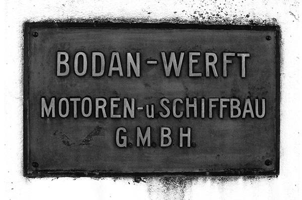Nach 1925 – Das Firmenschild der Bodan-Werft.<br /> Sammlung Reimann, Arth (CH).