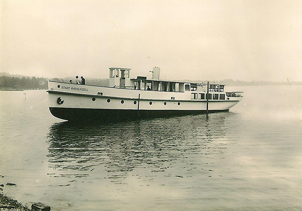 The first new motor ship of the Deutsche Reichsbahn on Lake Constance: MS Stadt Radolfzell. Hunziker Collection, Lucerne.