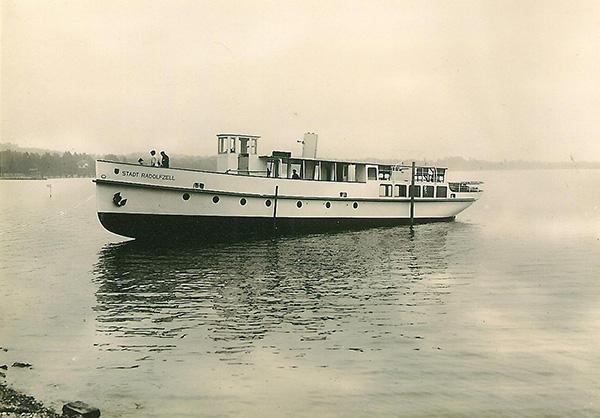 Das erste neue Motorschiff der Deutschen Reichsbahn auf dem Bodensee: MS Stadt Radolfzell. Sammlung Hunziker, Luzern.