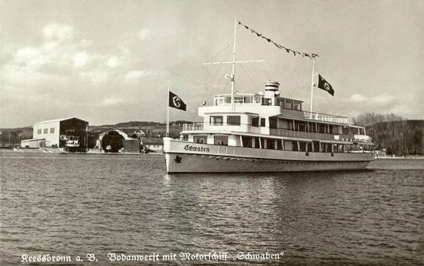 MS Schwaben vor der Bodan-Werft. Gut zu erkennen ist die neu erbaute Sliphalle. Privatsammlung Berthold Luick, Konstanz.