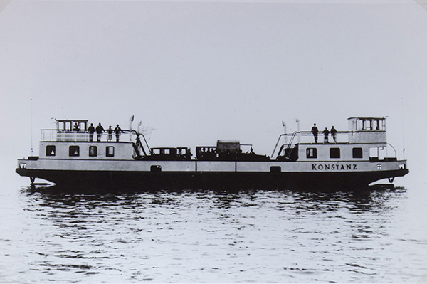 The first inland sea car ferry in Europe from Constance-Staad to Meersburg started its service in 1928. It also bears the name Constance. Kübler Collection, Stuttgart.