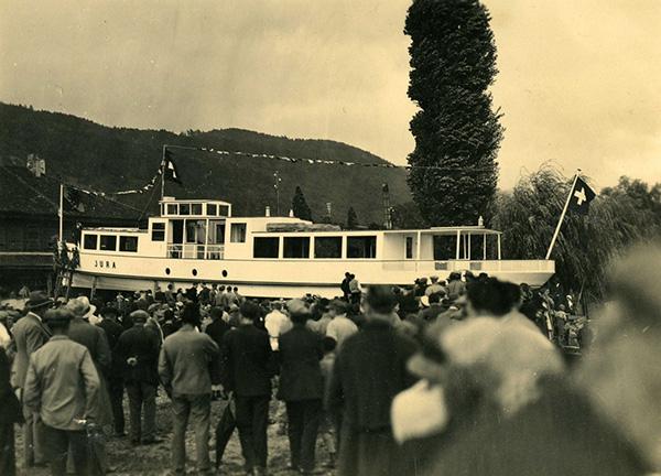 Das Schwesterschiff MS Jura wurde etwas später, am 18. Oktober 1932, in Betrieb genommen. Sammlung Reimann, Arth (CH).