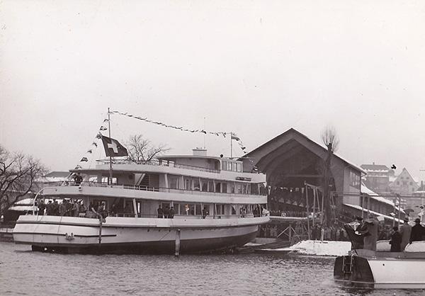 Stapellauf MS Linth am Zürichsee. Privatsammlung August Fuchs, Kressbronn a. B.