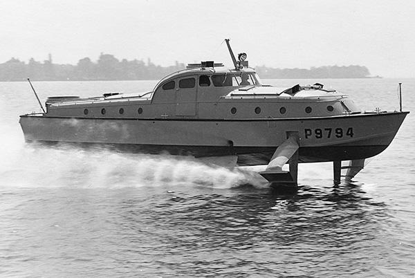 Tragflügelboot für die Nautik Schnellverkehrs GmbH, Bremen. Sammlung Luick, Konstanz.